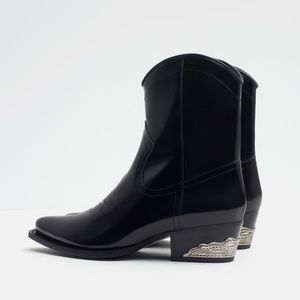Zara leather cowboy boots with metal heel detail