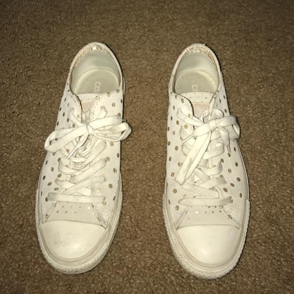 d2236d35ea1a65 Converse Shoes - Cream and gold polka dot Converse