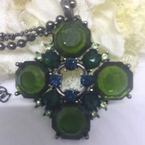 NuBella Jewelry - Green and Blue Crystal Cross [JW-100]