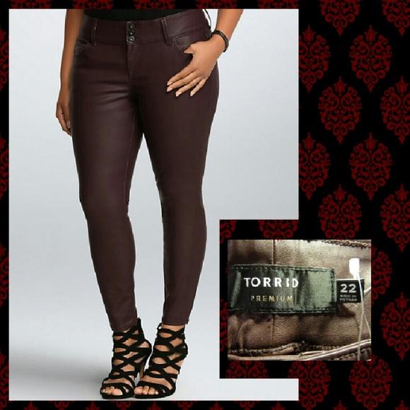 c55a1fa329a5d Torrid Pants | Oxblood Faux Leather Jeggings Sz 22 | Poshmark