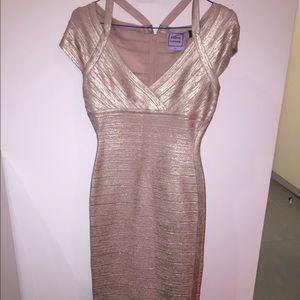Herve Leger Dresses & Skirts - Herve léger gold foil dress.