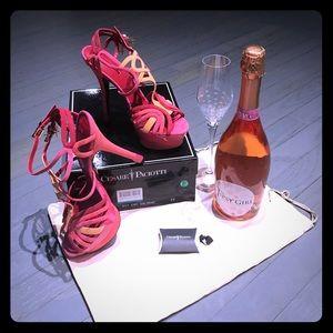 Cesare Paciotti Shoes - Cesare Paciotti pink red peach suede heels EU39