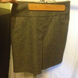 J. Crew 4 gold metallic wool skirt w/ pockets EUC
