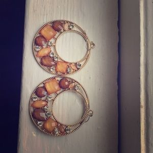 Gold Plated Hoop Style Earrings with Stones
