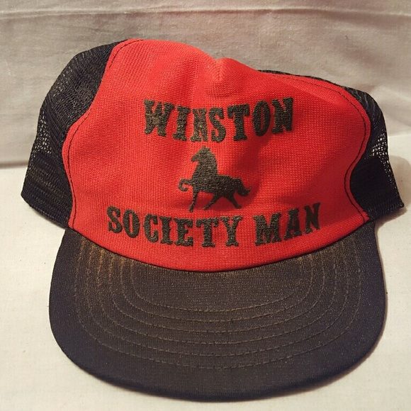19f5ee93d12 Accessories - Red and black hat with horse and writing