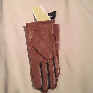 NEW MICHAEL KORS MK BROWN ZIPPED LEATHER GLOVES
