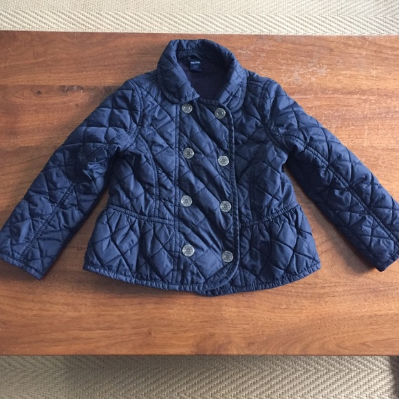5bfbf83c69d1 pretty cheap ac8a1 43cae baby girl navy blue quilted coat jacket 12 ...