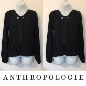 Anthropologie Tops -   Meadow Rue   Black Tie Neck Top