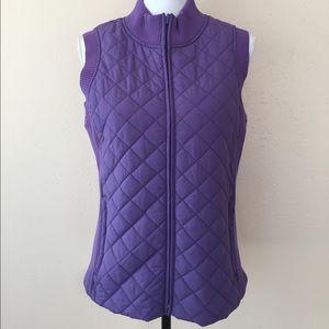 Pendleton Purple Knit Puffer Vest Size S Zip Front