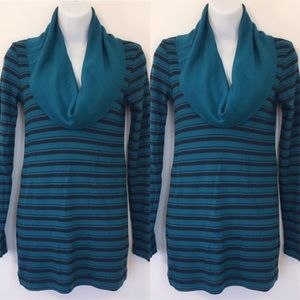 Splendid Cowl Neck Turquoise Stripped Sweater