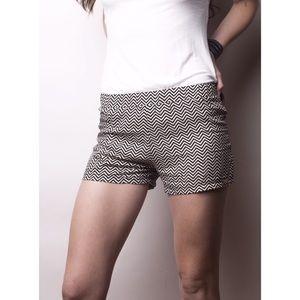 Mysterious by NPN Pants - Black & white chevron elastic waistband shorts!