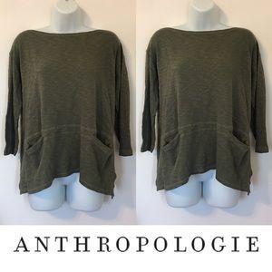 Anthropologie Tops -   T.La   Forrest Green Cotton 3/4 Sleeve Flowy Top