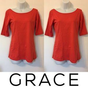 Grace Tops - 🍍CLEARANCE🍍Grace Orange Pima Cotton Plain Tee