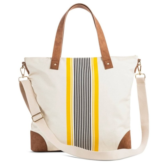 Merona Striped Tote w  Removable Cross-body Strap 4a3152ec98402