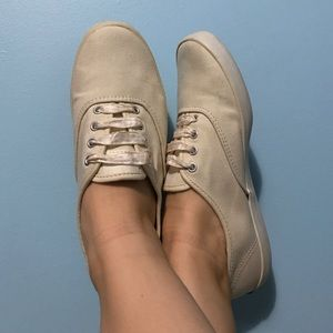 KEDS beige/faded yellow classic canvas sneakers