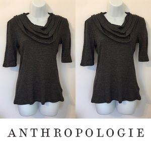 Anthropologie Tops -   Deletta   1/4 Sleeve Striped Ruffle Neckline Top