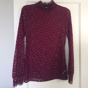 cb47440688d00 Free People Tops - NWOT lace high neck