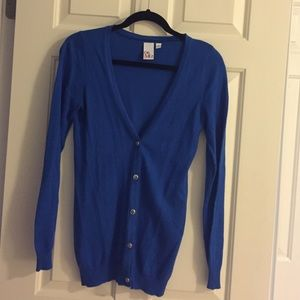 Sweaters - Royal blue button-up cardigan