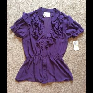 NWT Purple Sheer Ruffled Blouse