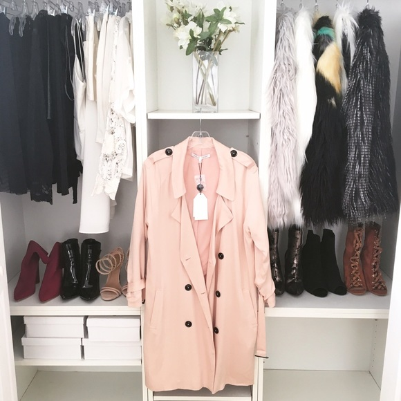 02c1c8e76952 Style Link Miami Jackets & Coats | Nude Pink Flowy Trench Jacket ...