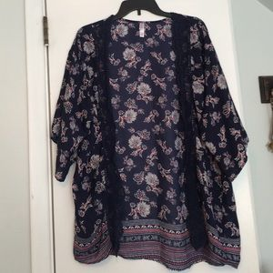 Xhilaration Jackets & Blazers - Navy and floral kimono