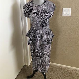 Vintage Peplum Black & White Dress