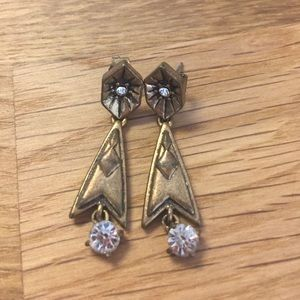 J Crew drop earrings in brass with crystals