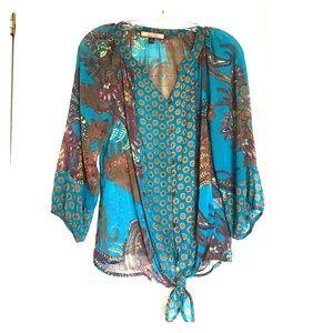 Three quarter length sleeves sheer blouse