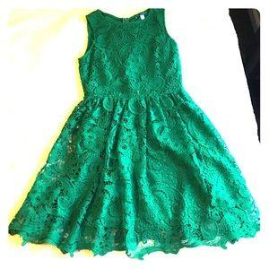 Pim + Larkin Green Lace Fit and Flare Dress