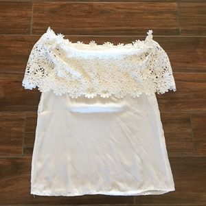 Off the shoulder lace top. Size medium.
