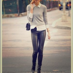 Zara Faux Leather Leggings with Seam at the Knee
