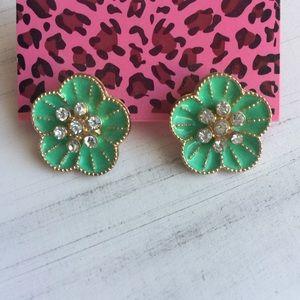 SALE! Pretty Betsey Green Flower Earrings