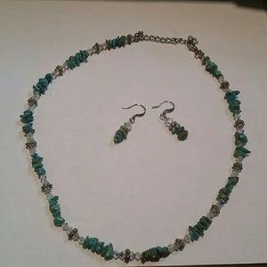Vintage Stone n Beading Necklace & Earrings
