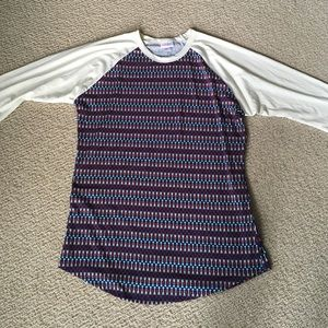 Red, white, and blue LuLaRoe Randy Tee