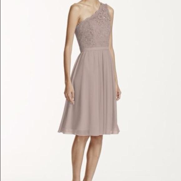 David\'s Bridal Dresses | Short One Shoulder Bridesmaid Dress Color ...