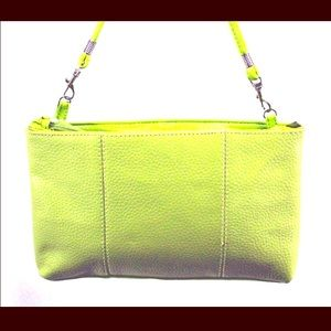 Handbags - Lime Shoulder Bag with Silver Tone Hardware
