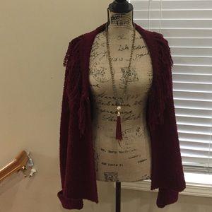 BOHO fringe cardigan on trend burgundy ❤️