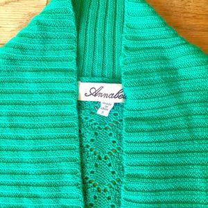 Sweaters - Green Perforated Cardigan