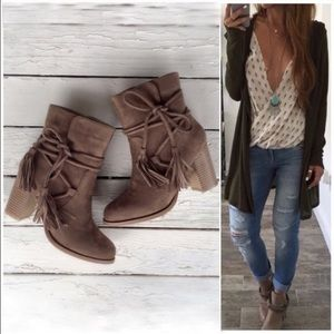 Shoes - ⭐SIZE 5.5 only⭐NIB Taupe Wrapped Tassel Booties