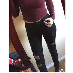 Denim - Distressed Hem Jeans