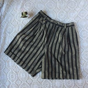 Vintage Vertical Stripe High Waist Linen Shorts