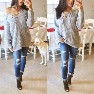 Sweaters - CLOSET CLOSING *FINAL* SALE• lace up plush sweater