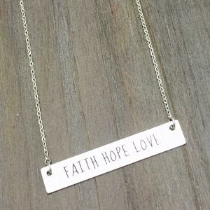 Jewelry - Delicate FAITH HOPE LOVE Bar Necklace.