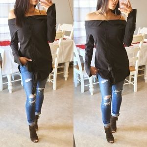 Tops - LAST CHANCE🔥 Off the shoulder button up tunic top