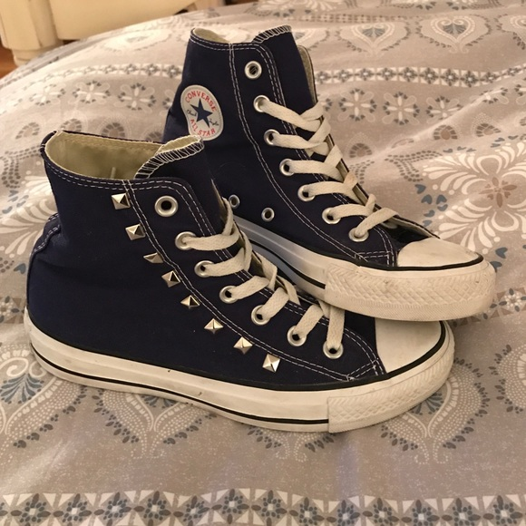 c8ba4956814 Converse Shoes - 1 hour sale Converse High Tops in Blueberry w Stud
