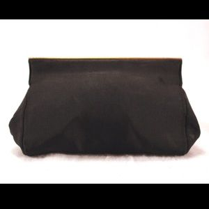 Castle Versus Handbags - CASTLE VERSUS Black Satin Evening Clutch