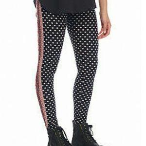 Pink Rose Pants - Printed Legging Paisley Black Pink Rose