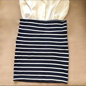 Forever 21 Dresses & Skirts - Forever 21 Navy and White Striped Knit Skirt