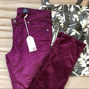 AG Adriano Goldschmied Pants - AG Adriano Goldschmied The Legging Purple Cords
