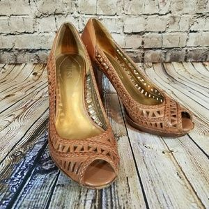 Guess Destany Leather Braid and Cutout Peeptoe